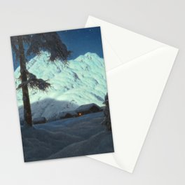 Winter Cabin in the Mountains landscape painting by Ivan Fedorovich Choultsé Stationery Cards