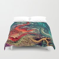 surrealism Duvet Covers featuring vivid Surrealism by rafi talby by Rafi Talby - Painter