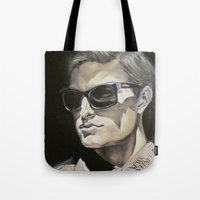 newspaper Tote Bags featuring Newspaper Man by Charles Ellison