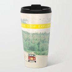NEVER STOP EXPLORING - vintage volkswagen van Metal Travel Mug