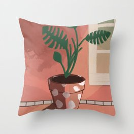 Split Leaf Philodendron in the Sun Throw Pillow