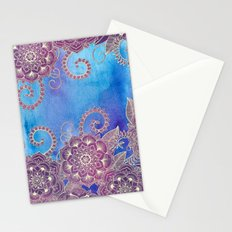 Magnolia & Magenta Floral on Watercolor Stationery Cards