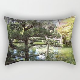 Peaceful Pond in Japanese Garden with Trees and a Bridge Rectangular Pillow