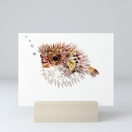 Little cute Fish, Puffer fish, cut fish art, coral aquarium fish Mini Art Print