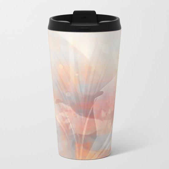 Floral Astract Metal Travel Mug