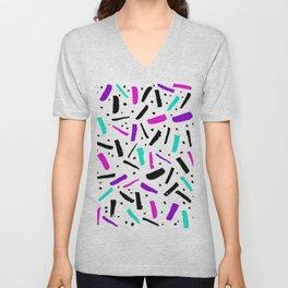 Neon colored confetti design in pink, black, purple and cyan colors Unisex V-Neck