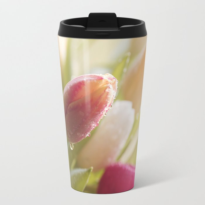 Bouquet of tulips spring flowers in pastel Metal Travel Mug