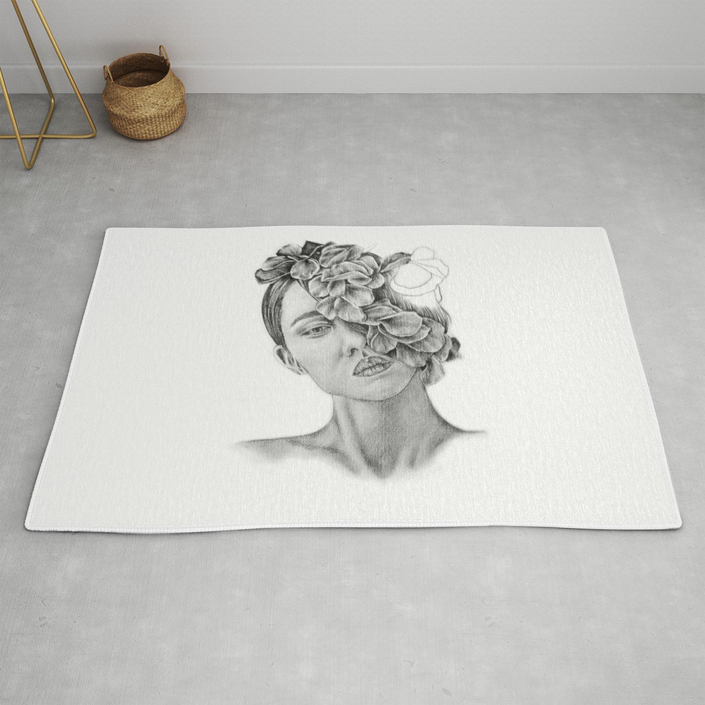Art pencil drawing illustration portrait model flowers gift wall decor rug by kathrynlisa