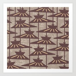 Mid Century Modern Pendant Lamp Composition Beige and Brown Art Print