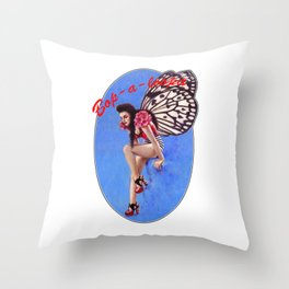 Vintage 1950's Rockabilly Butterfly Girl Pin-up Throw Pillow