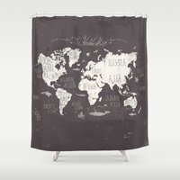 gray Shower Curtains featuring The World Map by Mike Koubou