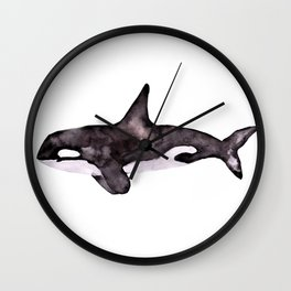 Watercolor Orca Killer Whale Wall Clock