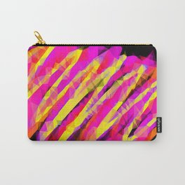 psychedelic geometric polygon abstract in pink yellow orange black Carry-All Pouch