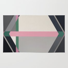 Green line -hexagon graphic Rug