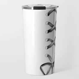 Laced Gray Ribbon on White Travel Mug