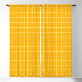 Grid Yellow Blackout Curtain