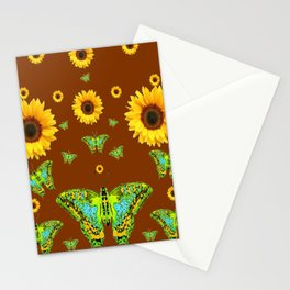 COFFEE BROWN SUNFLOWERS & GREEN MOTHS Stationery Cards