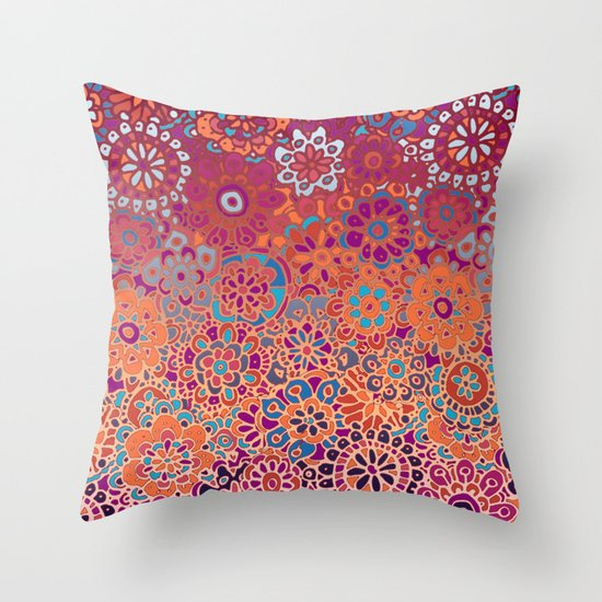 Throw Pillow Doodle : Psychedelic Ombre Flower Doodle Throw Pillow by Micklyn Society6
