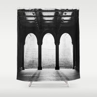 noir Shower Curtains featuring NYC Noir by The Dreamery