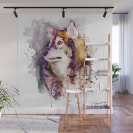 Watercolor Wolf Portrait Wall Mural
