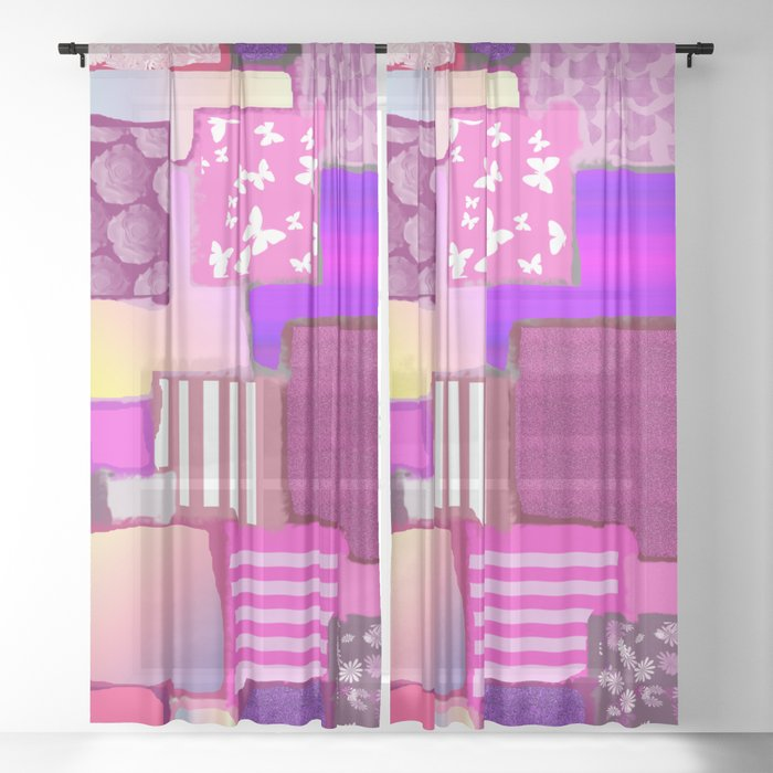 Pink Squares Patchwork Fabric Painting Sheer Curtain