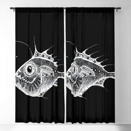 Lantern Fish on Black Blackout Curtain