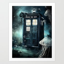 Doctor Who -Underwater Tardis Art Print