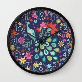 Peacock Sanctuary (navy) Wall Clock