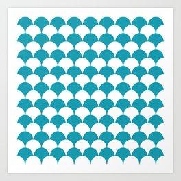 Fan Pattern 321 Turquoise Art Print