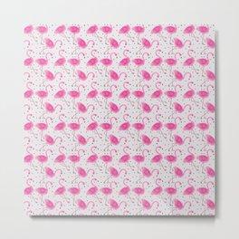 Flamingo Pattern Pink Christmas Gift Design Metal Print