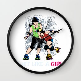 Cute Womens Roller Skater Gift Product Roller Derby Design Wall Clock
