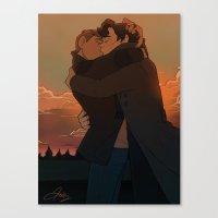 johnlock Canvas Prints featuring Tarmac Reunion by wellkeptsecret