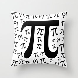 The Pi symbol mathematical constant irrational number, greek letter, background Throw Pillow