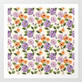 Rustic orange lavender ivory floral illustration Art Print