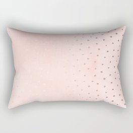 Rose Gold Pastel Pink Foil Paint Line Dots XXIII Rectangular Pillow