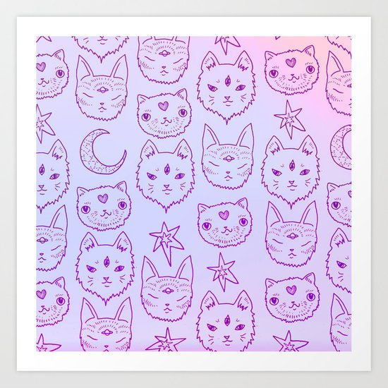 Kitty Mystics in Pink Art Print