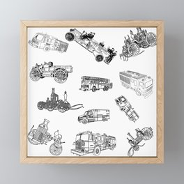 Fire Trucks - Old and New Framed Mini Art Print