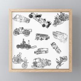Fire Trucks - Old and New Framed Mini Art Print