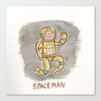 spaceman Canvas Prints featuring SpaceMan by Ryan M Whiteley