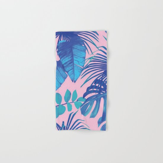 tropical leaf pattern pink  Hand & Bath Towel