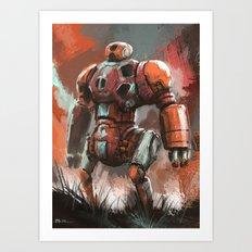 Orange Bot Art Print
