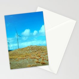Wind Mills On The Summer Blue Sky Stationery Cards