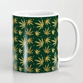 Marijuana leaf seamless pattern background in gold color Coffee Mug