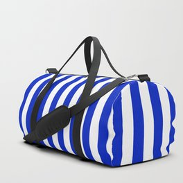 Cobalt Blue and White Vertical Beach Hut Stripe Duffle Bag