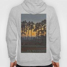 Japanese Woodblock Print Morning Sunrise Farm Tree Silhouette Hoody
