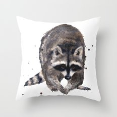 RACOON painting, wilderness nursery art, woodland animal art, racoon watercolor, cute racoon print Throw Pillow