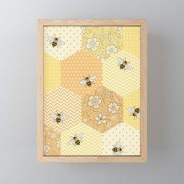 Patchwork Bees Pattern Framed Mini Art Print