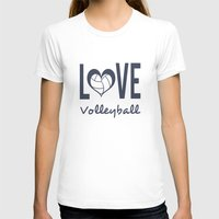 volleyball T-shirts featuring Love Heart Volleyball (blue) by raineon