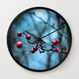 Winter Berries Wall Clock