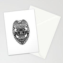 U.S. Military Police Veteran Security Force Badge, Black Line Art Stationery Cards